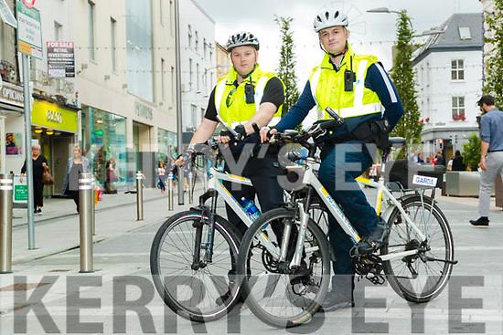 Garda Eoghan Walsh and Garda Niall O'Connor on Bike patrol in Tralee on Monday