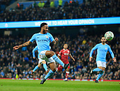 9th January 2018, Etihad Stadium, Manchester, England; Carabao Cup football, semi-final, 1st leg, Manchester City versus Bristol City; Raheem Sterling of Manchester City tries to chip the ball over the Bristol goalkeeper