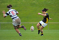 Acacia Te Iwimate clears during the Farah Palmer Cup women's provincial rugby match between Wellington Pride  and Auckland at Jerry Collins Stadium / Porirua Park, Wellington, New Zealand on Saturday, 23 September 2017. Photo: Dave Lintott / lintottphoto.co.nz