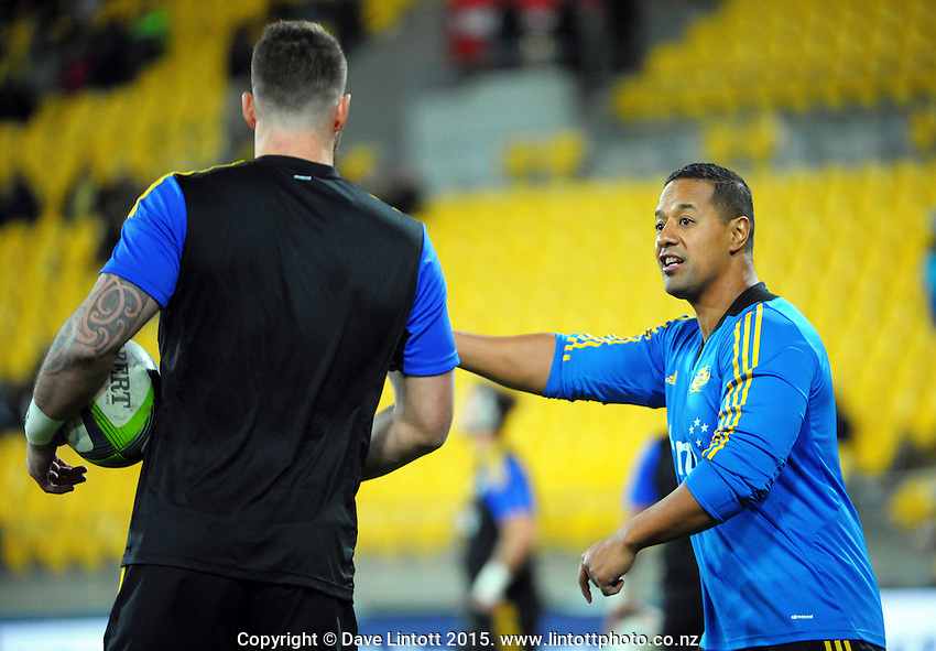 Assistant physio LeeVan Santos talks to Blade Thomson during the Super Rugby match between the Hurricanes and Sharks at Westpac Stadium, Wellington, New Zealand on Saturday, 9 May 2015. Photo: Dave Lintott / lintottphoto.co.nz