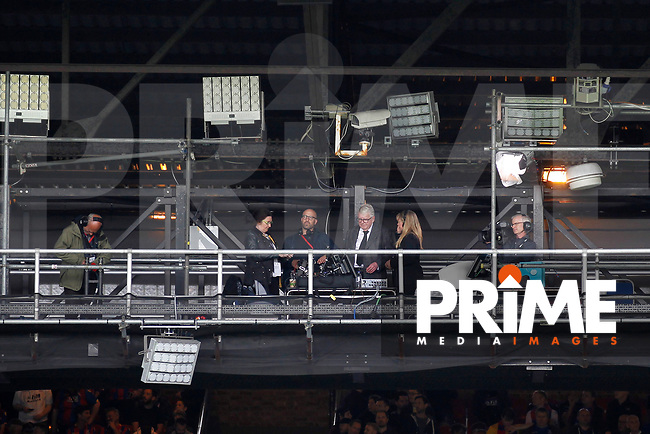John Motson says his goodbyes on the gantry after completing his final match as a commentator during the EPL - Premier League match between Crystal Palace and West Bromwich Albion at Selhurst Park, London, England on 13 May 2018. Photo by Carlton Myrie / PRiME Media Images.