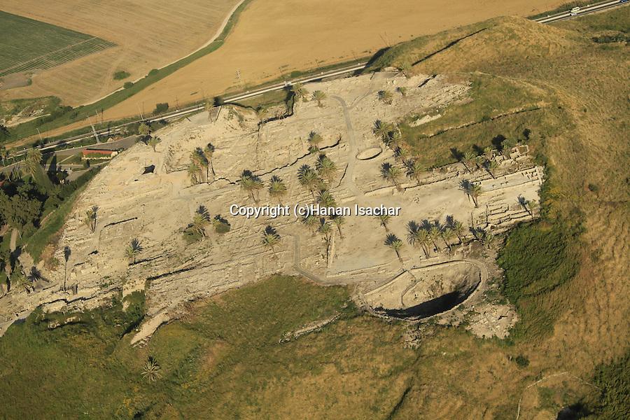 Israel, Jezreel valley, an aerial view of Tel Megiddo