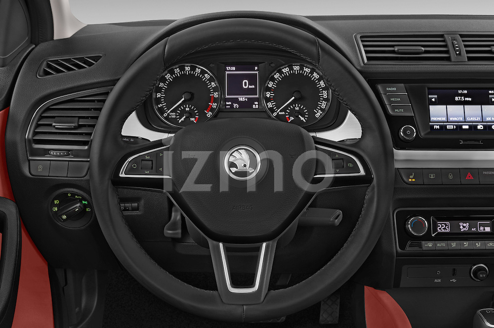 Car pictures of steering wheel view of a 2015 Skoda Fabia Ambition 5 Door Wagon Steering Wheel