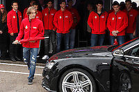 Real Madrid player Luka Modric participates and receives new Audi during the presentation of Real Madrid's new cars made by Audi at the Jarama racetrack on November 8, 2012 in Madrid, Spain.(ALTERPHOTOS/Harry S. Stamper) .<br /> &copy;NortePhoto