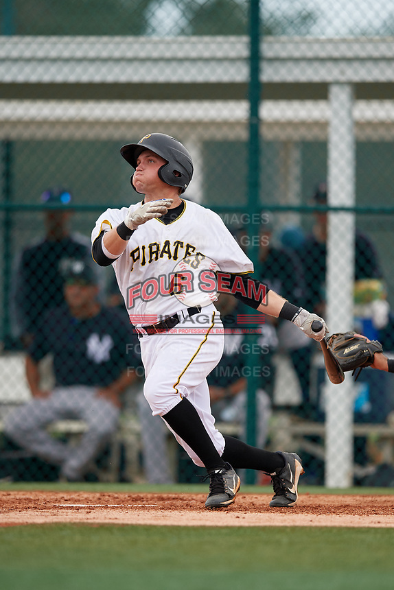 GCL Pirates left fielder Steven Kraft (6) hits a home run during the second game of a doubleheader against the GCL Yankees East on July 31, 2018 at Pirate City Complex in Bradenton, Florida.  GCL Pirates defeated GCL Yankees East 12-4.  (Mike Janes/Four Seam Images)