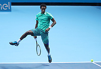 France's Gael Monfils shows his full Repertoire of shots against Milos Raonic of Canada in the ATP Tour Finals   played at  the O2 Arena  London on 13th November 2016