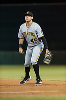 Surprise Saguaros first baseman Will Craig (45), of the Pittsburgh Pirates organization, during an Arizona Fall League game against the Scottsdale Scorpions at Scottsdale Stadium on October 15, 2018 in Scottsdale, Arizona. Surprise defeated Scottsdale 2-0. (Zachary Lucy/Four Seam Images)