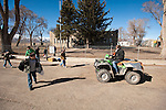 End of the school day--a 4-wheeler (atv) awaits kids for pickup at the elementary school, Paradise Valley, Nev.