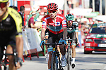 Red Jersey Miguel Angel Lopez Moreno (COL) Astana Pro Team crosses the finish line at the end of Stage 2 of La Vuelta 2019 running 199.6km from Benidorm to Calpe, Spain. 25th August 2019.<br /> Picture: Luis Angel Gomez/Photogomezsport | Cyclefile<br /> <br /> All photos usage must carry mandatory copyright credit (© Cyclefile | Luis Angel Gomez/Photogomezsport)