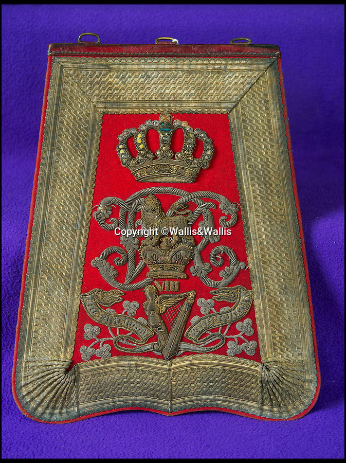 BNPS.co.uk ()1202 558833)<br /> Pic: Wallis&Wallis/BNPS<br /> <br /> £5000 - The ornate sabretache (flat bag or pouch) of the Hon. Somerset Gough-Calthorpe who was ADC to Lord Lucan at Balaclava and later accused Lord Cardigan of cowardice.<br /> <br /> An extraordinary collection of artefacts and momentoes from one of the most infamous days in British military history is being sold at Wallis&Wallis auctioneers in genteel Lewes, East Sussex.