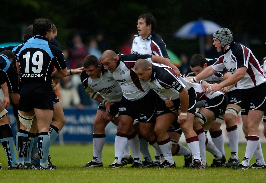 Photo: Jed Wee..Glasgow v Newcastle Falcons. Pre Season Friendly. 18/08/2006...Newcastle forwards pack down.