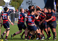 Hastings players celebrate winning the 2017 1st XV rugby Top Four boys final between Hastings Boys' High School and Hamilton Boys' High School at Sport and Rugby Institute in Palmerston North, New Zealand on Sunday, 10 September 2017. Photo: Dave Lintott / lintottphoto.co.nz