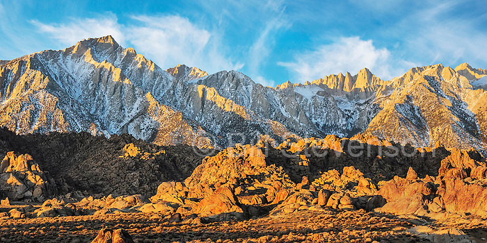 Sunrise on Mount Whitney and Lone Pine Peak. This landscape image was taken from the Alabama Hills. Lone Pine Peak (12,949 feet) and Mount Whitney (14,505 feet) are two of the photographic icons of the western United States. Over 150 movies have been filmed here since the 1920's.