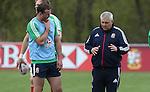 British & Irish Lions training session.Lions head coach Warren Gatland in discussion with Jamie Roberts.Vale Resort.15.05.13.©Steve Pope