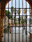 Jardín del Estanque, Royal Gardens, Alcazar, Séville, Spain..