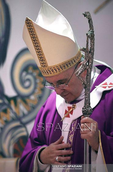 Pope Francis during his pastoral visit at roman parish of Santa Maria dell'Orazione in Guidonia Montecelio near Rome on March 16, 2014.