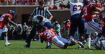 A.J. Moore tackles a UT Martin offender during the game on Sat., Sept. 9, 2017. Ole Miss wins 45-23. Photo by Marlee Crawford/Ole Miss Communications