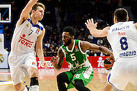 Real Madrid's player Luka Doncic and Jonas Maciulis and Unics Kazan's player Keith Langford during match of Turkish Airlines Euroleague at Barclaycard Center in Madrid. November 24, Spain. 2016. (ALTERPHOTOS/BorjaB.Hojas) //NORTEPHOTO