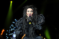 Pete Burns of Dead or Alive<br /> Performing at the PWL Hit Factory Live, o2 Arena, London, England, UK, <br /> 21st December 2012.<br /> music live on stage concert gig half length  black dress green contact lenses make-up pearl necklace shoulder pads gloves singing microphone <br /> CAP/MAR<br /> &copy; Martin Harris/Capital Pictures /MediaPunch ***NORTH AND SOUTH AMERICAS ONLY*** /MediaPunch ***NORTH AND SOUTH AMERICAS ONLY***