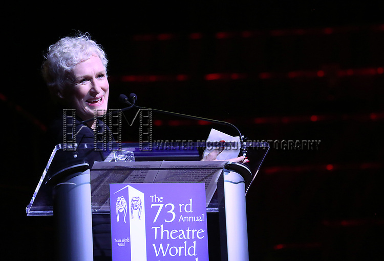 Glenn Close on stage at the 73rd Annual Theatre World Awards at The Imperial Theatre on June 5, 2017 in New York City.