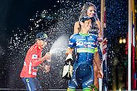 Nairo Quintana, (1st position) and Esteban Sanchez (3th position) of La Vuelta a España 2016 in Madrid. September 11, Spain. 2016. (ALTERPHOTOS/BorjaB.Hojas) NORTEPHOTO.COM