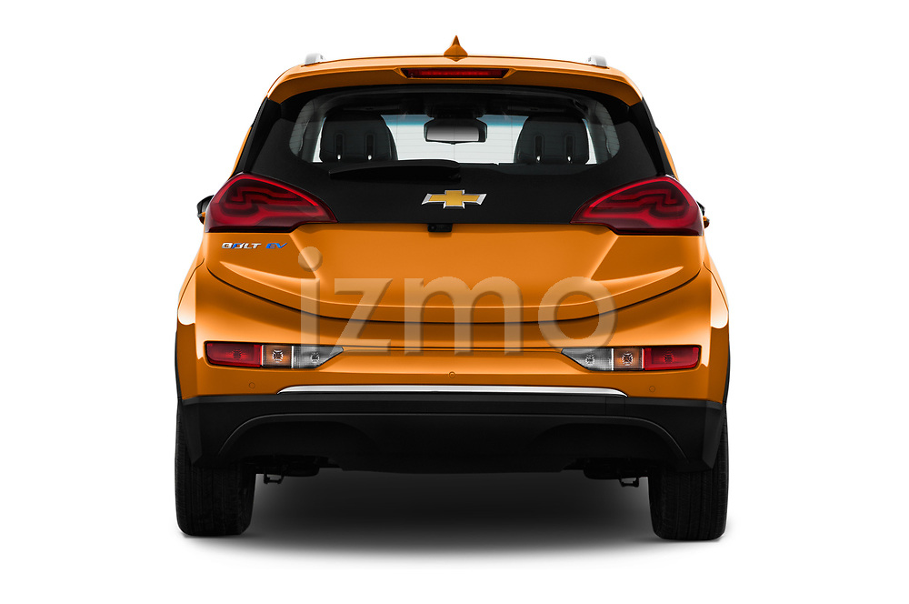 Straight rear view of 2017 Chevrolet Bolt-EV Premier 5 Door Hatchback Rear View  stock images