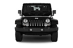Car photography straight front view of a 2015 JEEP Wrangler Rubicon 3 Door Suv 4WD Front View