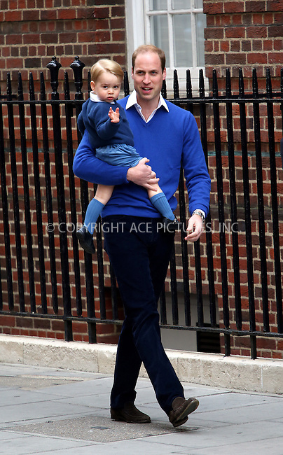 WWW.ACEPIXS.COM<br /> <br /> May 2 2015, London<br /> <br /> Prince William, Duke of Cambridge and his son George arriving at the Lindo Wing to visit Catherine, Duchess of cambridge and their newborn daughter Charlotte at St Mary's Hospital on May 2, 2015 in London, England. <br /> <br /> By Line: Hugo Philpott/ACE Pictures<br /> <br /> ACE Pictures, Inc.<br /> tel: 646 769 0430<br /> Email: info@acepixs.com<br /> www.acepixs.com
