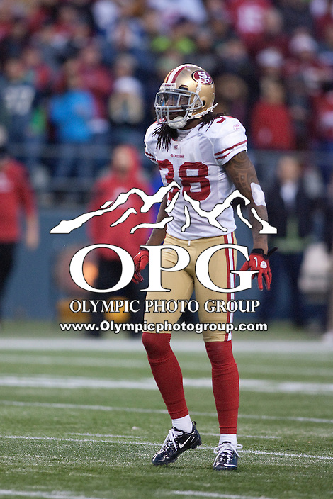 Dec 24, 2011: San Francisco's #38 DeShon Goldson against Seattle at Century Link Stadium in Seattle WA.  San Francisco defeated Seattle 19-17.