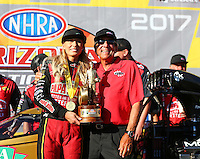 Feb 26, 2017; Chandler, AZ, USA; NHRA top fuel driver Leah Pritchett celebrates with team owner Don Schumacher after winning the Arizona Nationals at Wild Horse Pass Motorsports Park. Mandatory Credit: Mark J. Rebilas-USA TODAY Sports