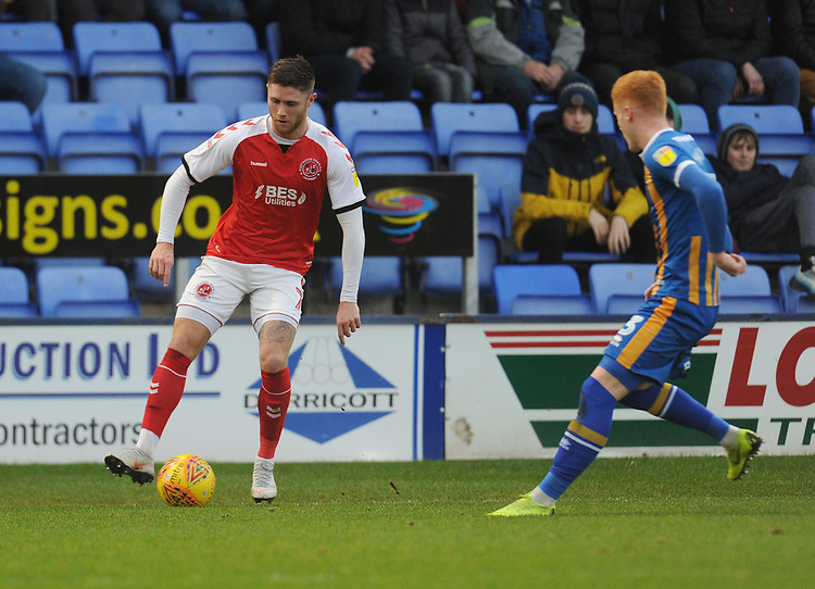 Fleetwood Town's Wes Burns under pressure from Shrewsbury Town's Ryan Haynes<br /> <br /> Photographer Kevin Barnes/CameraSport<br /> <br /> The EFL Sky Bet League One - Shrewsbury Town v Fleetwood Town - Tuesday 1st January 2019 - New Meadow - Shrewsbury<br /> <br /> World Copyright © 2019 CameraSport. All rights reserved. 43 Linden Ave. Countesthorpe. Leicester. England. LE8 5PG - Tel: +44 (0) 116 277 4147 - admin@camerasport.com - www.camerasport.com