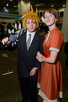 Visitors wearing cosplay costumes, Hyper Japan 2014, Earls Court, London, UK, July 25, 2014. Hyper Japan is the UK's largest Japanese culture event. It took place at the Earls Court exhibition space from 25 to 27 July 2014.