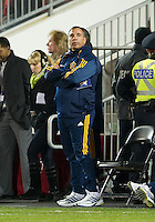 13 April 2011: Los Angeles Galaxy head coach Bruce Arena looks at the clock during an MLS game between Los Angeles Galaxy and the Toronto FC at BMO Field in Toronto, Ontario Canada..The game ended in a 0-0 draw.