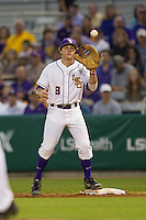 LSU Tigers first base Mason Katz #8 on defense against the Auburn Tigers in the NCAA baseball game on March 22nd, 2013 at Alex Box Stadium in Baton Rouge, Louisiana. LSU defeated Auburn 9-4. (Andrew Woolley/Four Seam Images).