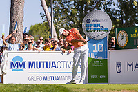 Rikard Karlberg (SWE) on the 10th tee during the third round of the Mutuactivos Open de Espana, Club de Campo Villa de Madrid, Madrid, Madrid, Spain. 05/10/2019.<br /> Picture Hugo Alcalde / Golffile.ie<br /> <br /> All photo usage must carry mandatory copyright credit (© Golffile | Hugo Alcalde)