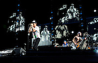 Anthony Kiedis - Michael Balzary - Chad Smith.Parigi 30/06/2012 Concerto dei Red Hot Chili Peppers allo Stadio di Francia..Photo Federico Pestellini /Panramic/Insidefoto.ITALY ONLY.