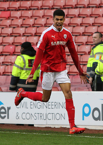 20.02.2016. Oakwell Stadium, Barnsley, England. Skybet League One, Barnsley versus Doncaster Rovers.  Barnsleys Ashley Fletcher celebrates his goal
