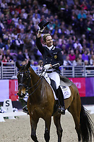 OMAHA, NEBRASKA - MAR 30: Carl Hester waves to the crowd after his ride during the FEI World Cup Dressage Final II at the CenturyLink Center on April 1, 2017 in Omaha, Nebraska. (Photo by Taylor Pence/Eclipse Sportswire/Getty Images)