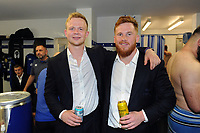 Will Homer and Rory Jennings of Bath Rugby pose for a photo after the match. Aviva Premiership match, between Bath Rugby and London Irish on May 5, 2018 at the Recreation Ground in Bath, England. Photo by: Patrick Khachfe / Onside Images