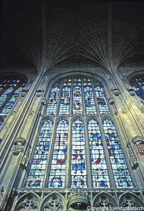 Cambridge: King's College Chapel window. Photo '82.