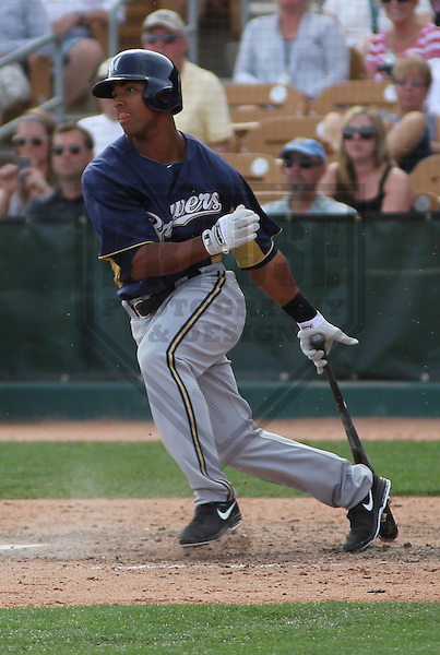 GLENDALE - March 2013: Khris Davis (57)  of the Milwaukee Brewers during a Spring Training game against the Chicago White Sox on March 21, 2013 at Camelback Ranch in Glendale, Arizona.  (Photo by Brad Krause). .