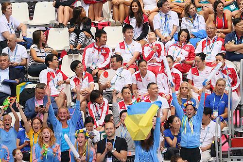 (Up-Down) Japan team group (JPN), Ukraine team group (UKR), JULY 30, 2015 - Synchronised Swimming : 16th FINA World Championships Kazan 2015 Duets Free Routine Final at Kazan Arena in Kazan, Russia. (Photo by Yohei Osada/AFLO SPORT)