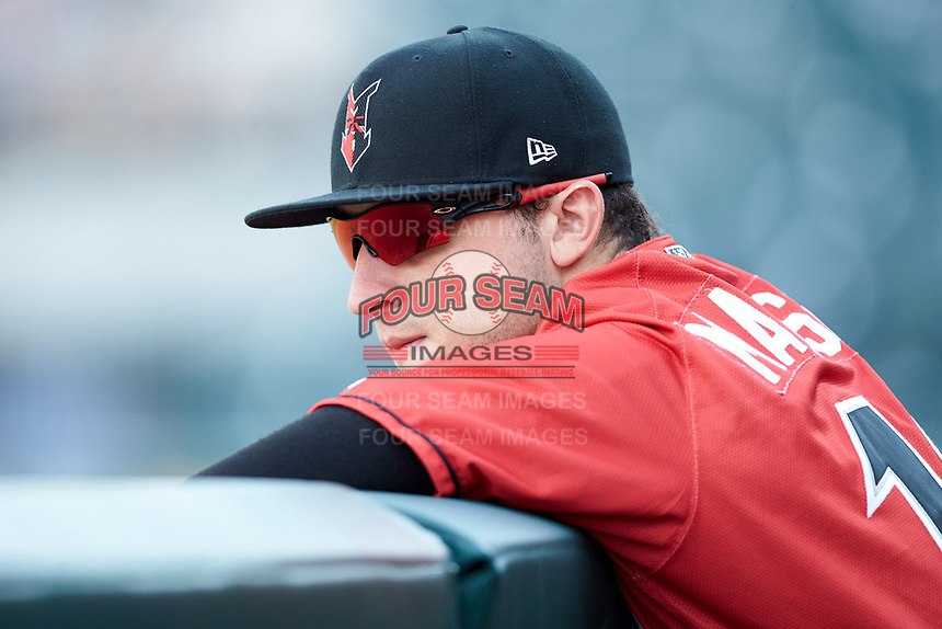 Wyatt Mathisen (19) of the Indianapolis Indians prior to the game against the Charlotte Knights at BB&T BallPark on May 26, 2018 in Charlotte, North Carolina. The Indians defeated the Knights 6-2.  (Brian Westerholt/Four Seam Images)