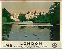 BNPS.co.uk (01202 558833)<br /> Pic: SwannGalleries/BNPS<br /> <br /> ***Please Use Full Byline***<br /> <br /> Pre-war poster of Whitehall - &pound;3,000.<br /> <br /> Beautiful posters from the halcyon days of travel up for auction.<br /> <br /> Scarce vintage travel posters promoting holidays across the globe in the 1920's and 30's are tipped to sell for over &pound;200,000 .<br /> <br /> The fine collection of 200 works of art that hark back to the halcyon days of train and boat travel have been brought together for sale.<br /> <br /> The posters were used to advertise dream holiday destinations in far-flung places such as the US and Australia and to celebrate the luxurious ways of getting to them.<br /> <br /> Most of the advertising posters date back to the 1930s and are Art Deco in style and they are all from the original print-run.