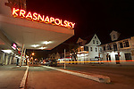 The Hotel Krasnapolsky on Buurenstraat in Paramaribo, Suriname at night.