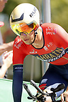 Yukiya Arashiro (JPN) Bahrain-Merida in action during Stage 10 of La Vuelta 2019 an individual time trial running 36.2km from Jurancon to Pau, France. 3rd September 2019.<br /> Picture: Luis Angel Gomez/Photogomezsport | Cyclefile<br /> <br /> All photos usage must carry mandatory copyright credit (© Cyclefile | Luis Angel Gomez/Photogomezsport)