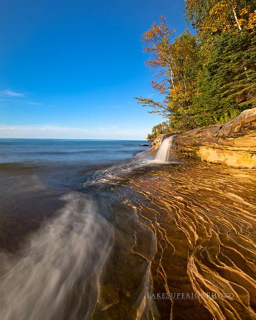 Elliot falls, terraced sandstone, Pictured Rocks, Autumn