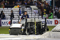 Essex head groundsman Stuart Kerrison makes an attempt to dry the outfield with the Blotter as rain continues to fall during Essex Eagles vs Glamorgan, NatWest T20 Blast Cricket at the Essex County Ground on 29th July 2016