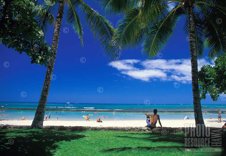 A relaxing day spent looking out over the blue water and white sands of the legendary Waikiki Beach, Oahu.