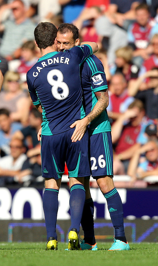Sunderland's Steven Fletcher celebrates scoring his sides first goal 1-0..Football - Barclays Premiership - West Ham United v Sunderland - Saturday 22nd September 2012 - Boleyn Ground - London..